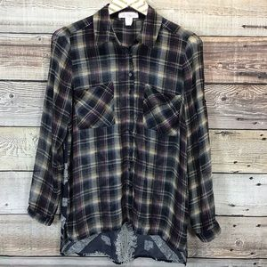 Band Of Gypsies Button Front Shirt XS Navy Plaid